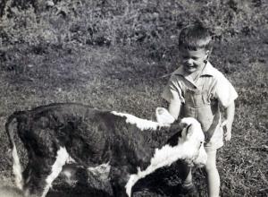 Mason with a calf